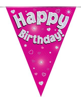Banner - Birthday - Pennant - Pink