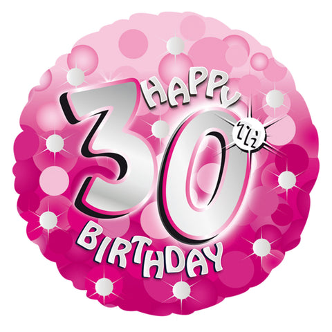 "Foil Balloon - 18"" - Happy 30th Birthday - Pink"
