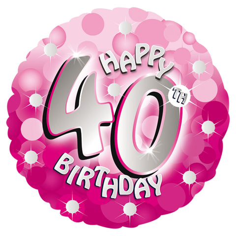 "Foil Balloon - 18"" - Happy 40th Birthday - Pink"