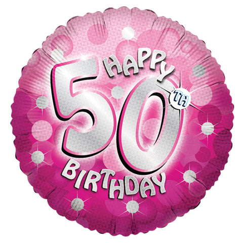 "Foil Balloon - 18"" - Happy 50th Birthday - Pink"