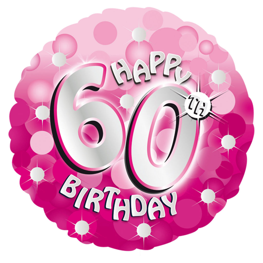 "Foil Balloon - 18"" - Happy 60th Birthday - Pink"