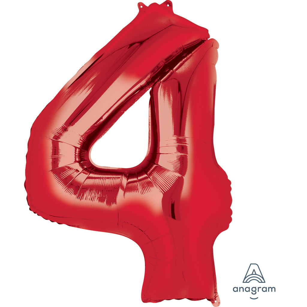 SuperShape Foil Balloon Number 4 - Red