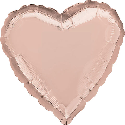 Foil Balloon - Solid Colour - Heart - Rose Gold