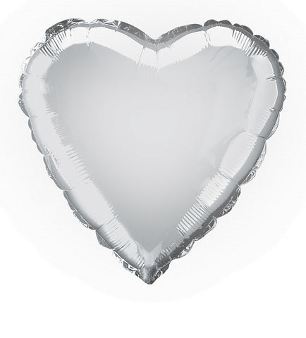 Foil Balloon - Solid Colour - Heart - Silver