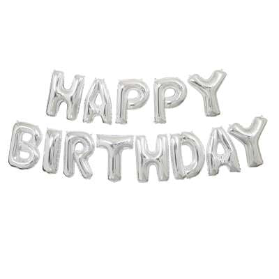 Banner Balloon Kit - Birthday - Silver