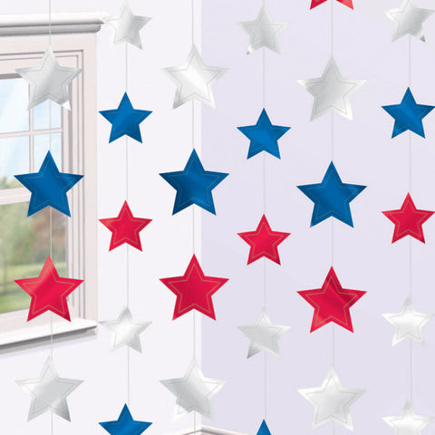 Hanging Decorations - Stars - Red/White/Blue