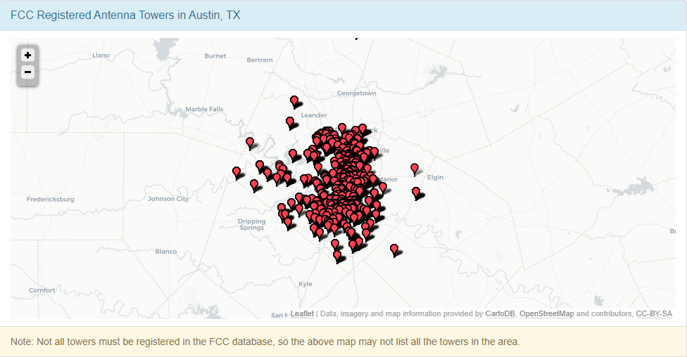 Registered Antenna Towers in Austin, Texas
