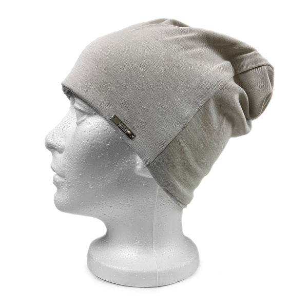 EMF 5G Radiation Protection Beanie - Silver Grey - Side View