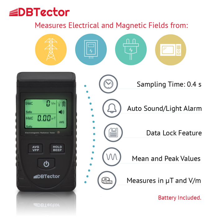 DBTector EMF Meter Electric And Magnetic Field Meter