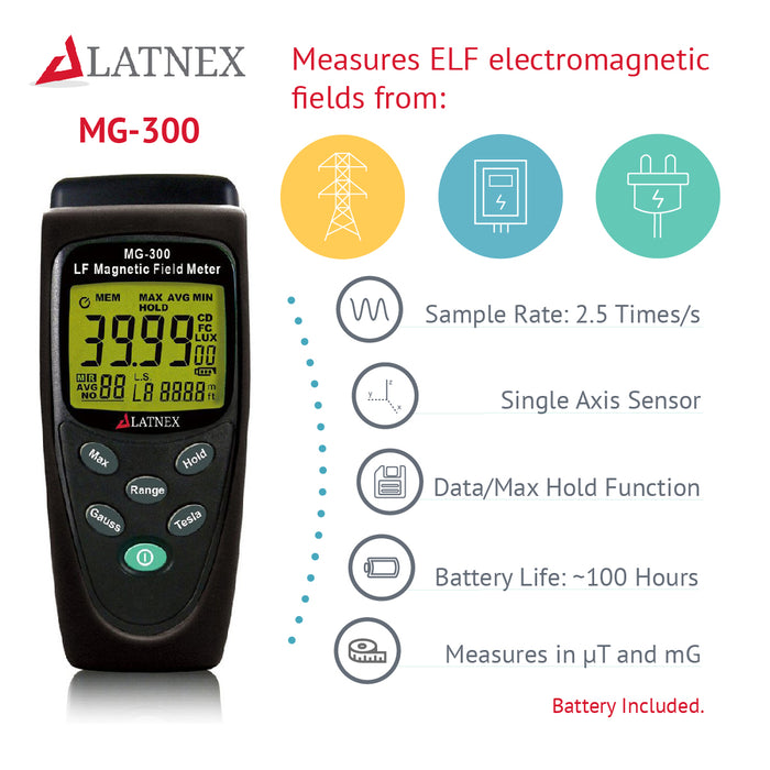 LATNEX® MG-300 Gauss and Magnetic Field Meter