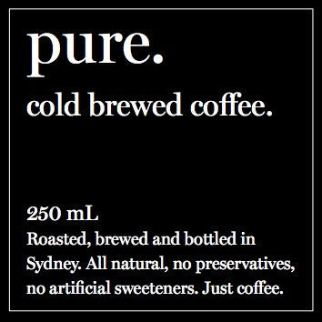 6pack of 250ml pure. cold brewed coffee.