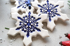 Ceramic Christmas ornaments // snowflake ornaments - set of 3