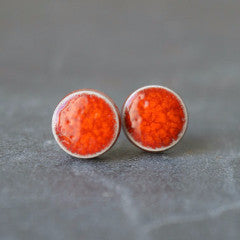 coral red minimalist ceramic stud earrings