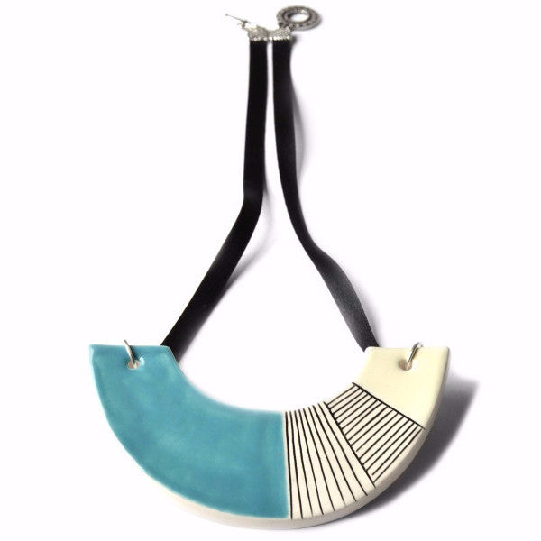 Selena - Geometric ceramic statement necklace