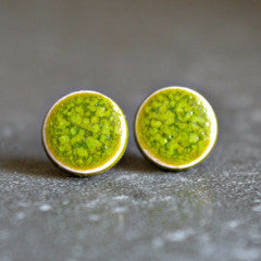 Stud earrings - Lime green