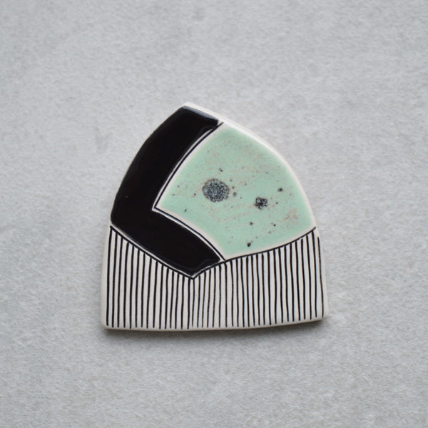 Ceramic brooch - Mint green