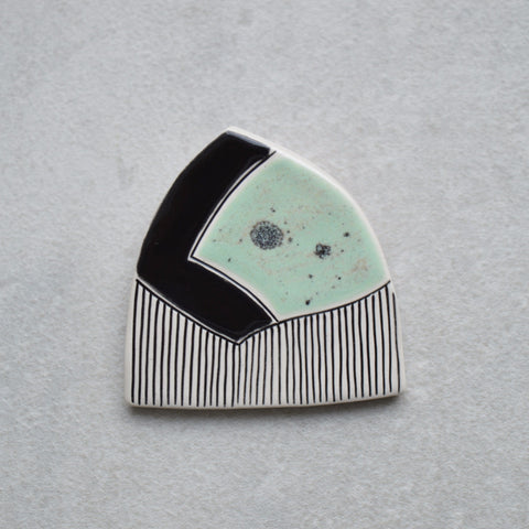 Mint green jewellery, ceramic brooch