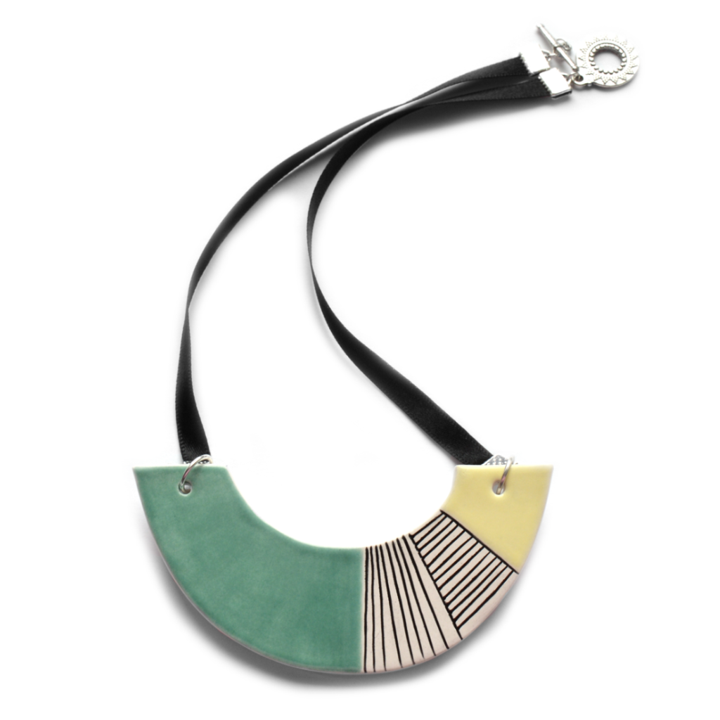 Azure - geometric ceramic statement necklace