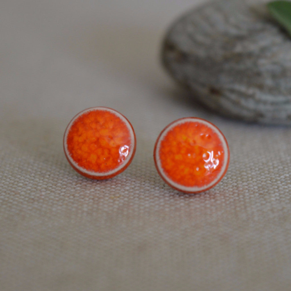 Ceramic stud earrings - lava orange