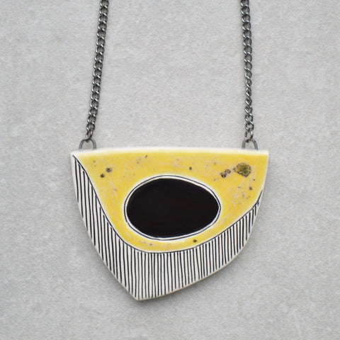 Ceramic necklace, geometric jewelry