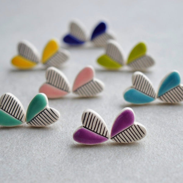 colorful ceramic heart stud earrings