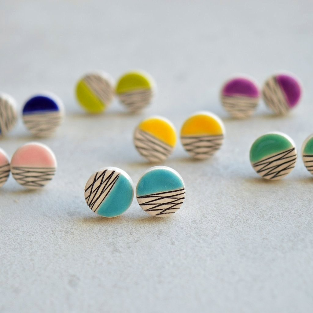 colorful geometric ceramic stud earrings