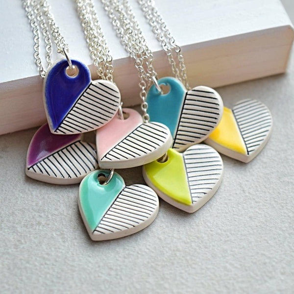 colorful minimalist ceramic heart pendants valentines gift