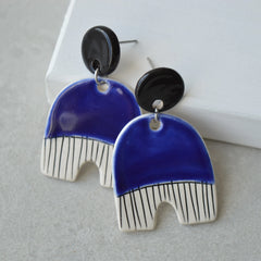 Royal blue stud dangle earrings