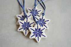 Ceramic star ornaments // Christmas decorations - set of 5