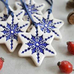 blue and white star christmas decorations