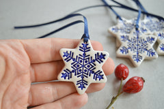 Christmas ornaments // ceramic star decorations - set of 5