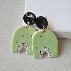 Stud Dangle earrings - Pastel green