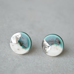 handmade round ceramic stud earrings dark green
