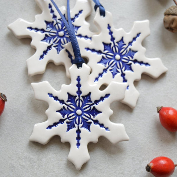 ceramic snowflake ornaments