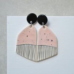 Stud Dangle Earrings - Speckled Pink
