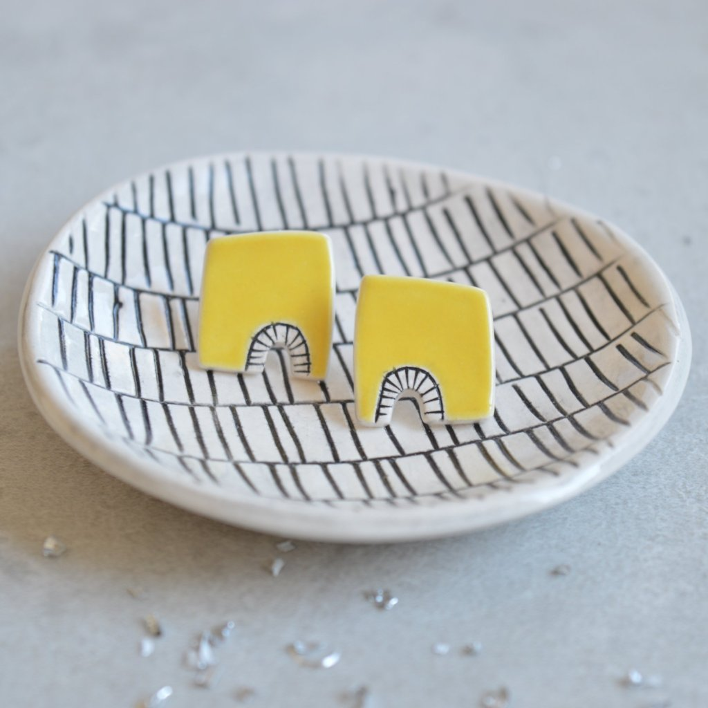 minimalist yellow geometric ceramic stud earrings