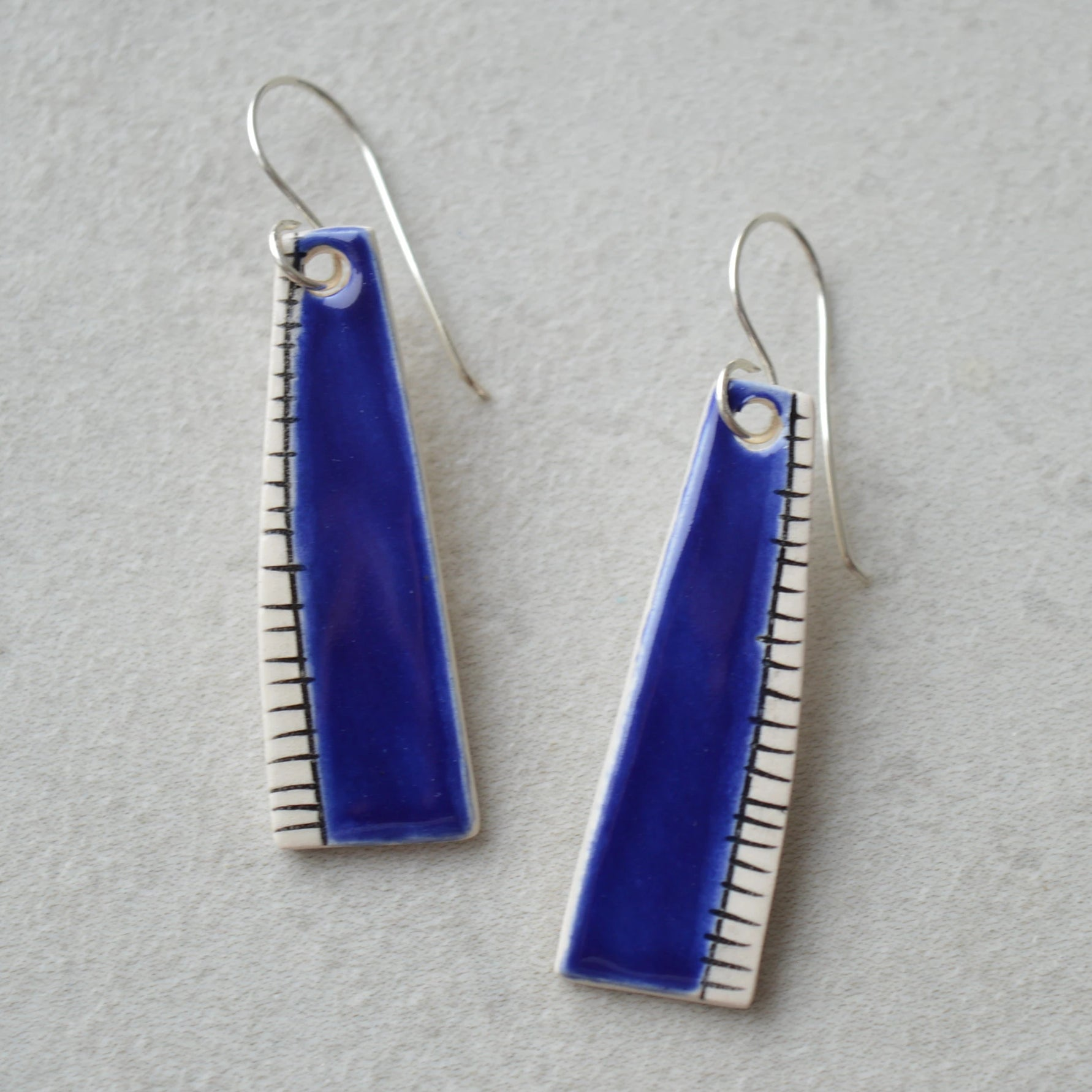 Royal blue ceramic earrings
