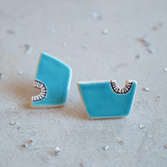 Sky blue geometric stud earrings