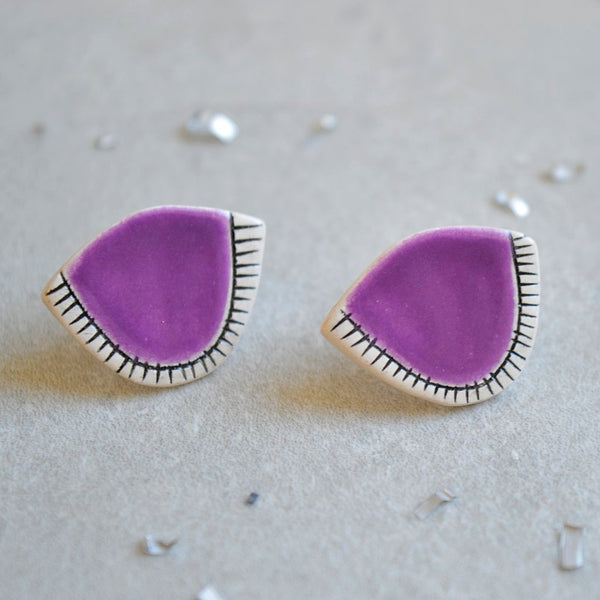 Purple geometric ceramic stud earrings