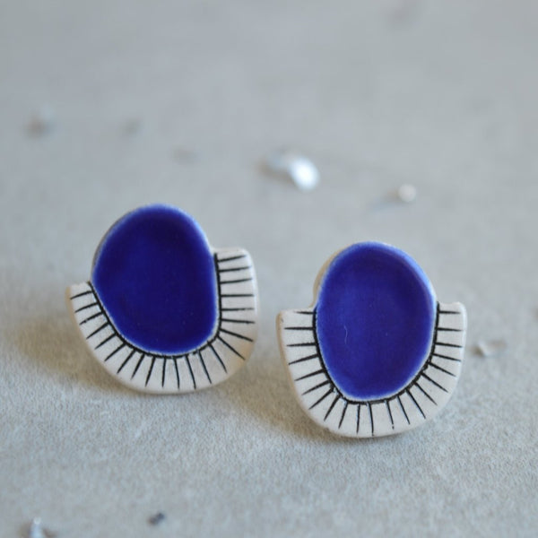 Royal blue ceramic stud earrings