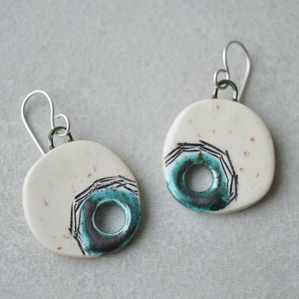 Seconds sale - Turquoise hole earrings