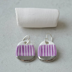 Magnolia purple sgraffito drop earrings