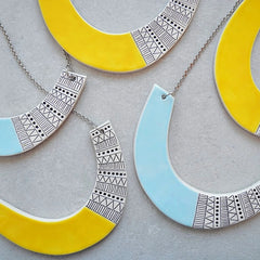 Geometric ceramic statement necklace