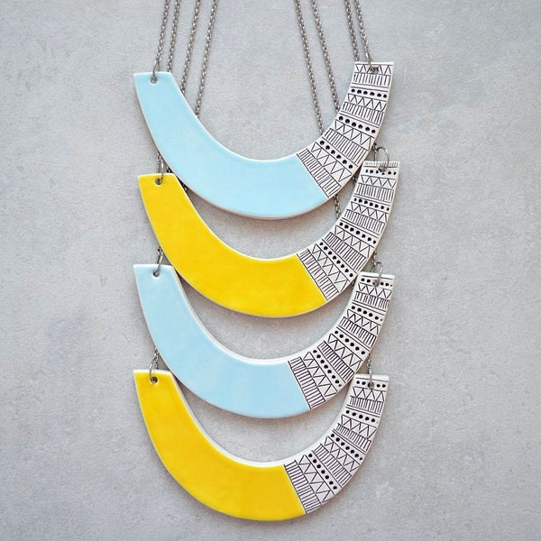 Made to order: Geometric ceramic statement necklace