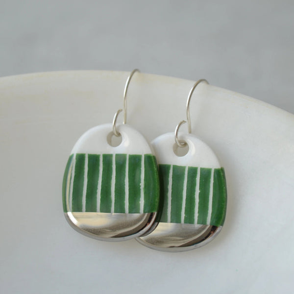Grass green sgraffito dangle earrings