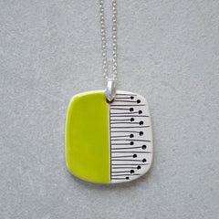 lime green ceramic pendant necklace