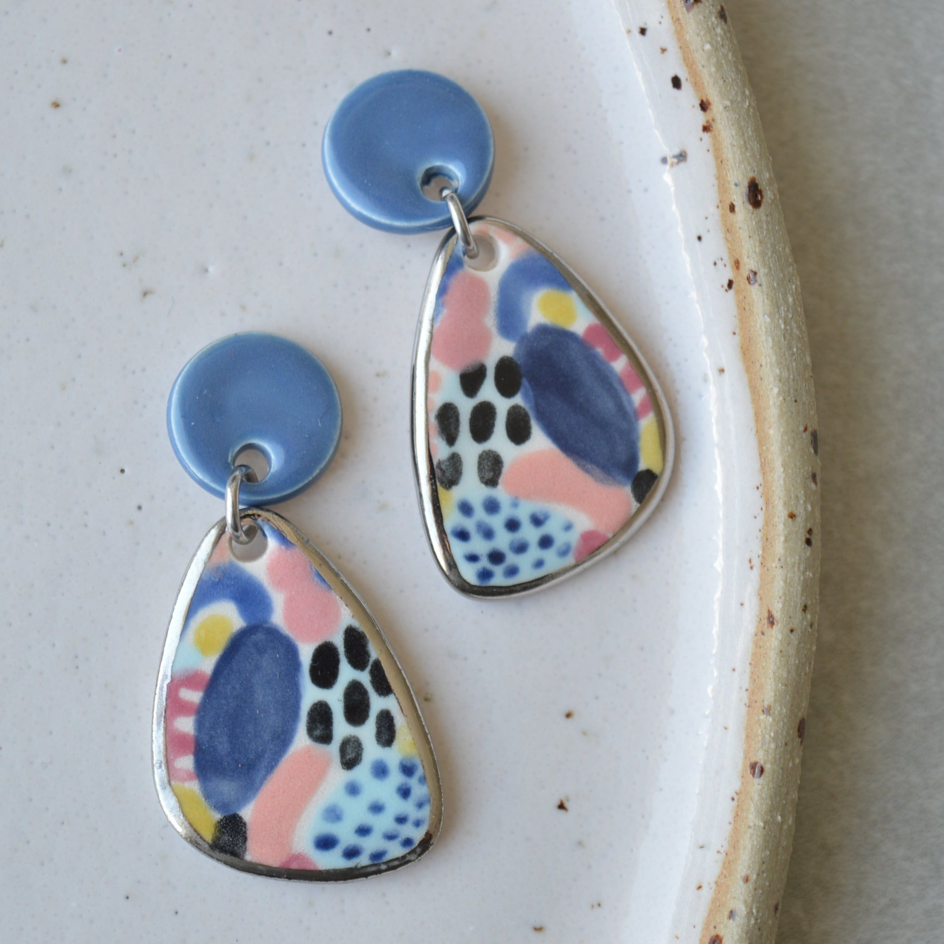 colourful handpainted ceramic earrings