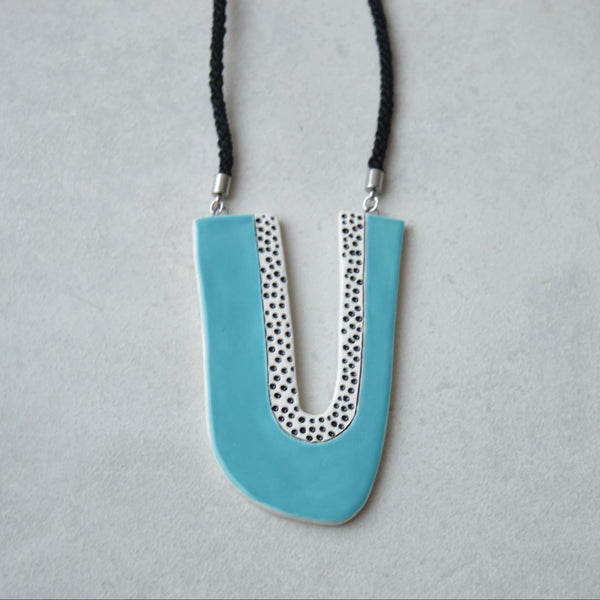 Long blue statement necklace