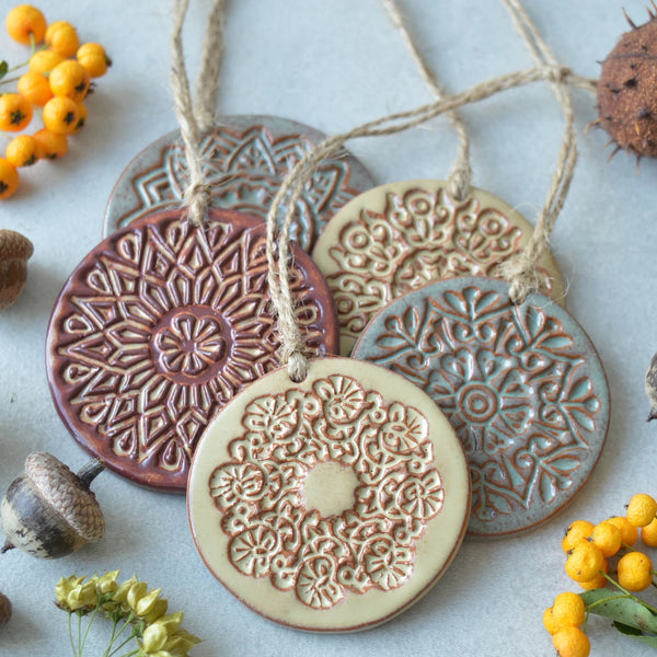 Earthy Christmas ornaments // ceramic decorations - set of 5