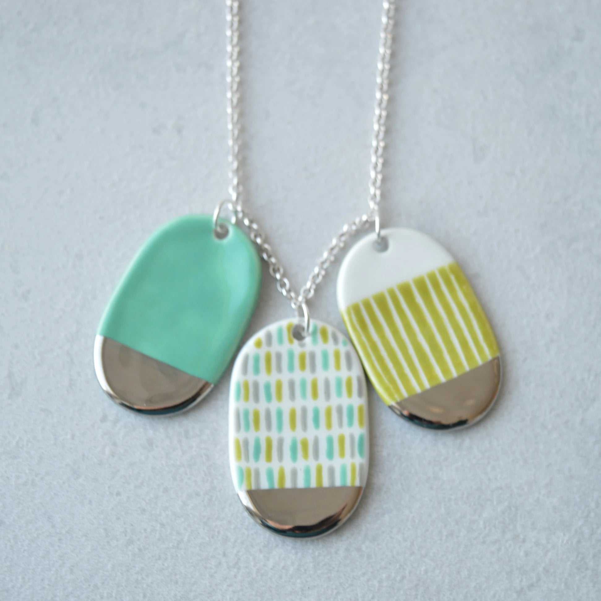 Green summer sprinkles ceramic necklace